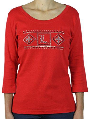 Verziert Scoop Neck Top (Nitro USA Damen Jewel Neck 3/4Sleeve Top mit Azteken OU, Damen, 12-440, rot, XL)
