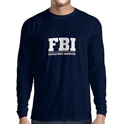 lepni.me Langarm Herren t Shirts Weiblicher Körper-Inspektor Unisex T-Shirt (Small Blau Weiß)