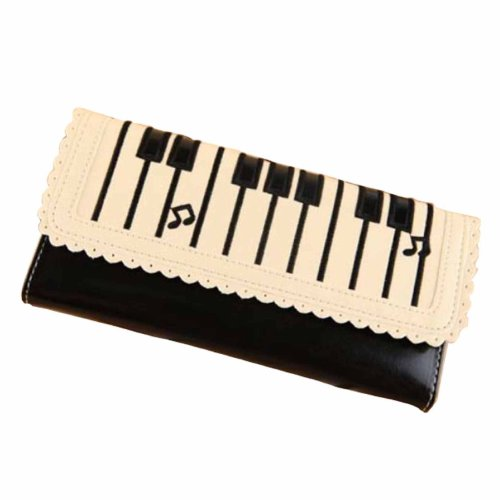 omo-piano-notes-design-3-folds-bifold-pu-leather-long-wallet-purse-black