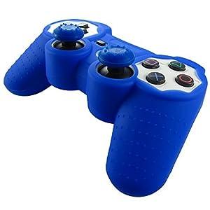 Pandaren® Silikon hülle skin für PS3 controller (dunkelblau) x 1 + thumb grip aufsätze x 2