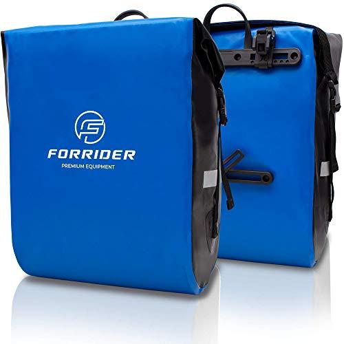 FORRIDER Fahrradtaschen für Gepäckträger - 100% Wasserdicht [2 Stück] 50L Volumen Premium Fahrrad Gepäckträgertaschen hinten Pack-Taschen Hinterradtaschen