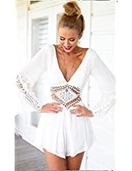 Pour les femmes plage Combinaions Combinaions Floral Filles Combinaions Maison de Combinaions,New Womens Summer Long Sleeve Top col en V profond robe Bodycon Party Romper