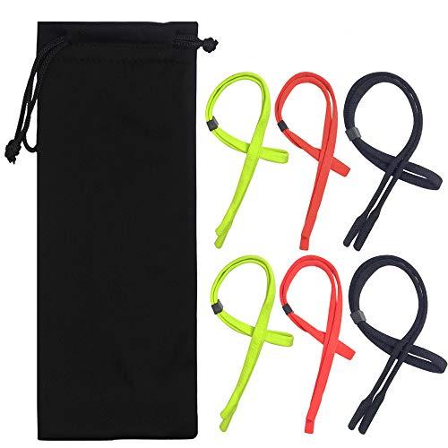 YuCool 6Packungen verstellbar Eyewear Retainer, Universal Brille Strap Kette oder Sonnenbrille Halter Träger passend für die meisten Eyewear-Black grün rot