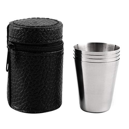 COPP 4 STÜCK 30 ML 70 ML 180 ML Edelstahl Camping Tasse Becher Outdoor Camping Wandern Falten Tragbare Tee Kaffee Bier Tasse Mit Schwarzer Tasche, 30 ML -