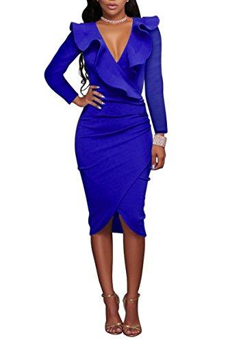 YMING Damen Langarm Kleid Volant kleid Bodycon Bleistiftkleid Sexy Partykleid Elegante Bleistiftkleid,Blau,L / DE 40-42 (Couture Kleid)