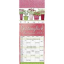 Gartenglück 2020: Familienplaner - 4 große Spalten mit viel Platz. Hochwertiger Familienkalender für Gärtner mit Ferienterminen und Vorschau bis März 2021. 19 x 47 cm.