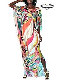 5f7e22469f4b Copricostume Mare Donna Vestito Lungo Estate Boho Hippie Kaftan Tunica  Etnica Kimono Abito da Spiaggia per Costumi da Bagno Stampato…