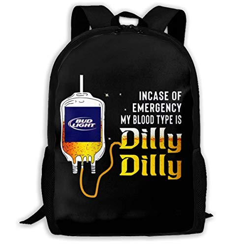 Bud Light Männer (sghshsgh Rucksack für Hochschule,Backpack for Men Women,Bud Light Incase of Emergency My Blood Type is Dilly Dilly Backpacks Hiking Laptop Backpack Travel Large Shoulder Bags for School Shopping Outd)