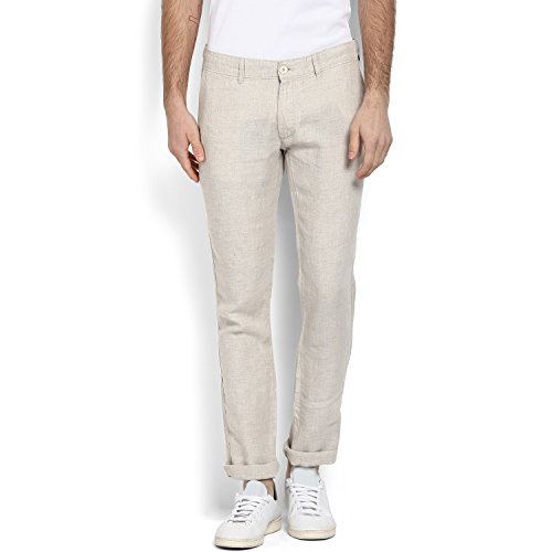 Celio Men Beige Solid Linen Pants