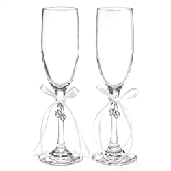 Hortense B. Hewitt Wedding Accessories Heart's Desire, Champagne Toasting Flutes, Set of 2, White