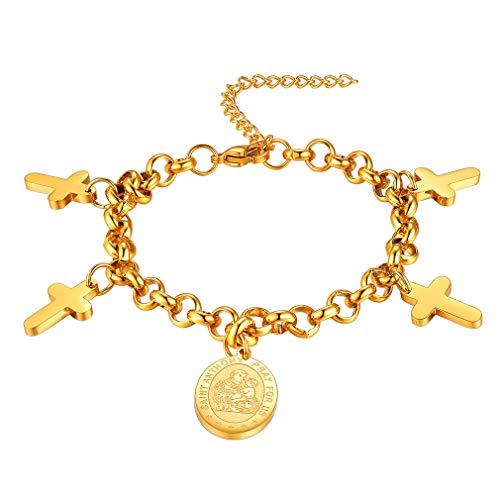 ldete Kreuz Armband mit Anhänger Saint Anthony mit Geschenkebox und Schmuckbeutel für Religiöse Leute ()