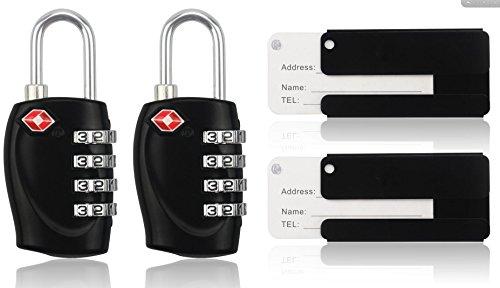 MIDWEC Cadenas de Sécurité à Combinaison de 4 Chiffres, pour Valise et Bagages, approuvé par la TSA (Noir) (2 Padlock + 2 ID TAG)