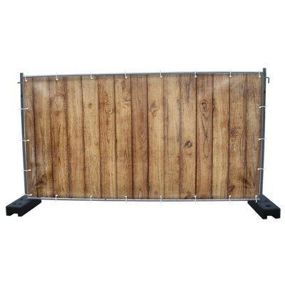 (PVC) Holzwand B1 Bauzaunbanner, Sichtschutz, Windschutz, Zaunblende, Festival Banner, 340 x 173 cm, DRUCKUNDSO