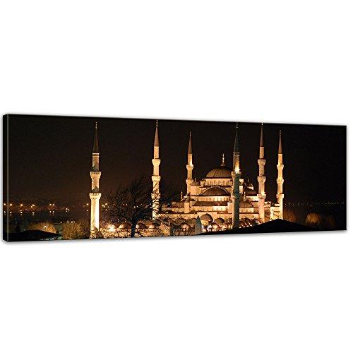 Kunstdruck - Moschee bei Nacht - Bild auf Leinwand - 120 x 40 cm - Leinwandbilder - Bilder als Leinwanddruck - Städte & Kulturen - Istanbul - Sultan Ahmed Moschee