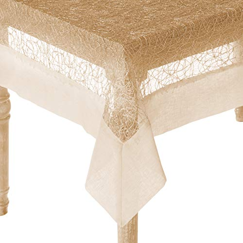 """Violet Linen Crown Mesh Lace with Border Design, Polyester Tablecloths, 65"""" X 108"""", Gold"""
