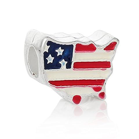 Sexy paillettes Femme des États-Unis Drapeau américain carte du charme perle Spacer compatible pour la plupart des Chaîne Serpent Bracelets