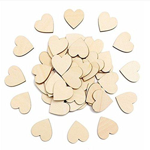 ULTNICE 60mm Embellissement en Bois Forme de Coeur Artisanat pour Décoration de Mariage 50pcs