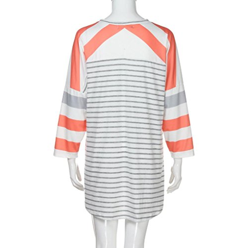 Blouse Femmes HUHU833 Hiver Casual rayée ample à manches longues mode Tops Sweater Tee-Shirt Orange