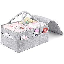 Umi. by Amazon - Cesta de pañales, organizador portátil de toallitas para bebé, pañalera con compartimentos ajustables, gris+rosado