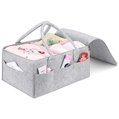 Umi. by Amazon - Baby Windel Caddy Filztasche mit Deckel, tragbarer Wickeltisch Organizer, Multifunktionale Wickeltasche, Filzkorb mit wechselbaren Fächer für Kinderzimmer, Auto und Reise-Rosa