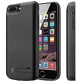 PEMOTech Coque Batterie pour iPhone 8/7 [Écouteurs Apple Lightning Compatible], 8000mAh Boîtier de Batterie Ultra-léger&sans mentonnière de Protection pour 5.5' iPhone 8/7[avec Stent](Noir)