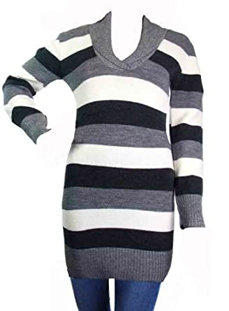 Ladies Striped Jumper dress with Shawl Neck in red black brown turquoise mustard cinnamon grey for women (turquoise)