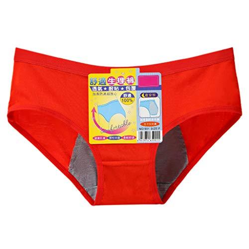 VIccoo Ropa Interior del período Menstrual de Las Mujeres Bragas de algodón Modales sin Costuras fisiológicas XL - Rojo