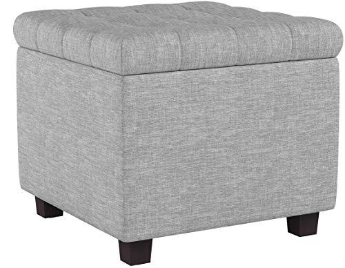 WOLTU Sitzhocker Sitzwürfel mit Stauraum, Aufbewahrungsbox Truhen, Deckel Abnehmbar, Gepolsterte Sitzfläche aus Leinen, 45 * 45 * 41CM, Hellgrau SH18hgr