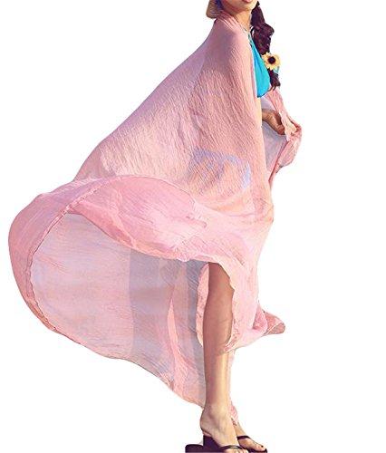 (Hippolo Candy Farbe Frauen lange weiche dünne Wrap Lady Schal Chiffon Schal Strand Damentuch,120*150cm. (Pink))