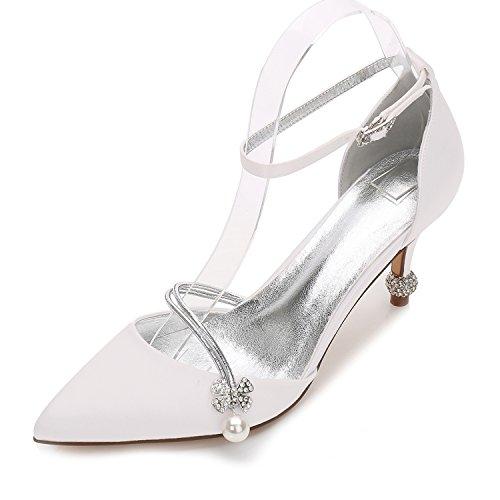 Hochzeit Schuhe Damen High Heels Satin Spitze Künstliche perlen Mary Jane Halbschuhe Brauen by MarHermoso Elfenbein Größe 40 (Heels Hochzeit Perlen)