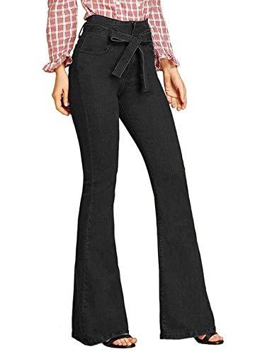 Frauen Slim-Fit Jeans, Damen Bell-Bottoms High Waist Jeans Denim Pants