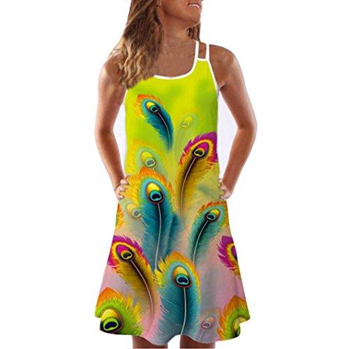 VEMOW Sommer Elegante Damen Frauen Lose Vintage Sleeveless 3D Blumendruck Bohe Casual Täglichen Party Strand Urlaub Tank Short Mini Kleid(Grün, EU-36/CN-S)