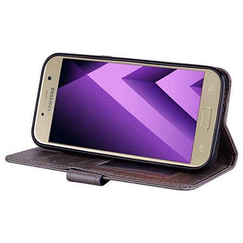 Coque Samsung Galaxy A3 (2017) , Bling Glitter Licorne Étui Protection Wallet PU en Cuir Housse la Haute Qualité Pochette Anti-rayures Couverture Bumper Rabat Magnétique Antichoc Cuir Véritable Case A Gris