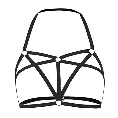 SHE.White Damen Hals hängen sexy Unterwäsche Body Nachthemd, Frauen aushöhlen elastischen Käfig BH Bandage geschnallt Halfter BH Busty Top Strumpfhosen (S-XL) -