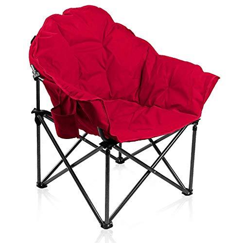 ALPHA CAMP Moonchair Faltstuhl 150kg Campingstuhl Relaxstuhl Gartenstuhl Faltstuhl Klappstuhl gepolstert mit Transporttasche und Becherhalter (rot)