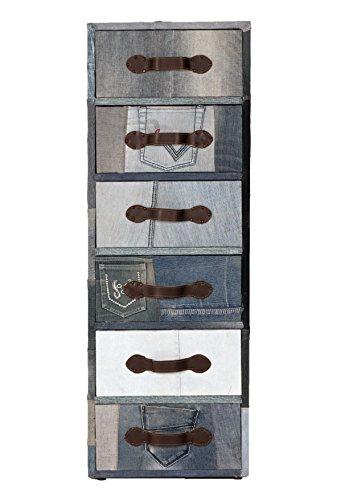 "4710-00 Kommode ""Denim"", 40 x 30 x 115 cm, MDF, Bezug recycelter Jeansstoff, blau"
