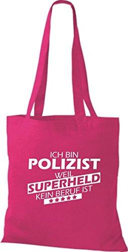 Shirtstown Stoffbeutel Ich bin Polizist, weil Superheld kein Beruf ist fuchsia