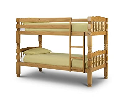 Happy Beds Chunky Standard Two Sleeper 3' Solid Thick Strong Pine Wood Bunk Bed With 2x Luxury Spring Mattresses