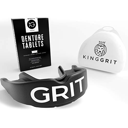 KingGrit Protector Bucal Protector dental - Doble capa protectora - con tabletas limpiadoras - Boxeo, MMA, Rugby - Negro, Adultos de 11 años en adelante