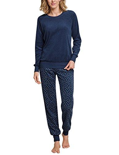 Schiesser Damen Zweiteiliger Schlafanzug Anzug lang, Blau (Blaugrau 808), 38