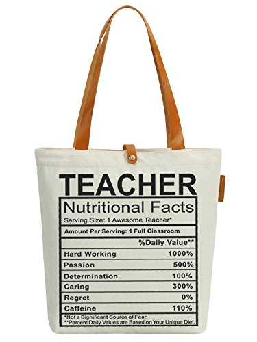 3219ac36e725 So'each Women's Awesome Teacher Graphic Top Handle Canvas Tote Shoulder Bag