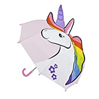 Ks Girls Pink 3D Unicorn Bubble Dome Umbrella Brolly Childrens School Travel
