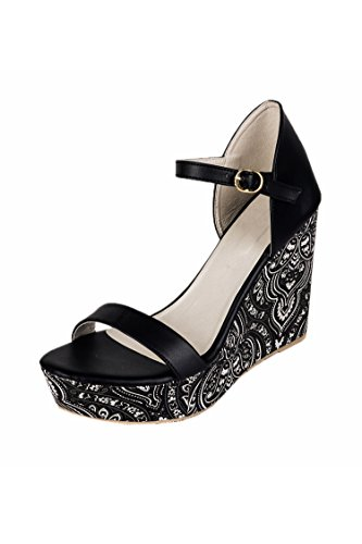 Do Bhai Stylish Wedges-1020 For Women (Euro38, Black)