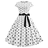 OverDose Damen Urlaub Reisen Stil Frauen Retro Print Bodycon Kurzarm Karneval Abend Party Bar Dance Schlank Ball Swing Kleid Dirndl