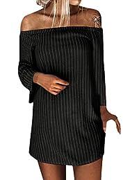 Vestido a rayas de manga larga de un hombro en otoño e invierno para mujer e3f18e950ebc