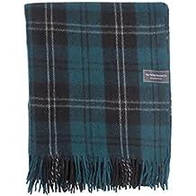 The Tartan Blanket Co. Couverture recyclée en laine – style tartan écossais Ramsay Blue