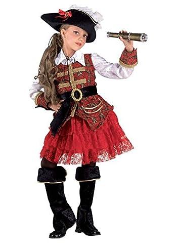 Premium Piraten-Kostüm für Mädchen mit Hut, Jacke und Stulpen | Hochwertiges Karnevals-Kostüm / Faschings-Kostüm / Kinderkostüm | Perfekte Seeräuberin Verkleidung für Karneval, Fasching, Fastnacht (Piraten Ideen Kostüme)