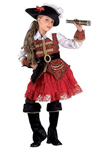 Premium Piraten-Kostüm für Mädchen mit Hut, Jacke und Stulpen | Hochwertiges Karnevals-Kostüm / Faschings-Kostüm / Kinderkostüm | Perfekte Seeräuberin Verkleidung für Karneval, Fasching, Fastnacht (Größe:116)