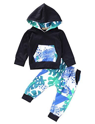 Säugling Kleinkind Baby Jungen Kleidung Langarm Blumen Hoodie Bodysuit Tops Floral Hosen Hosen mit Tasche Outfit Set (Kleinkind Jungen Kleidung)