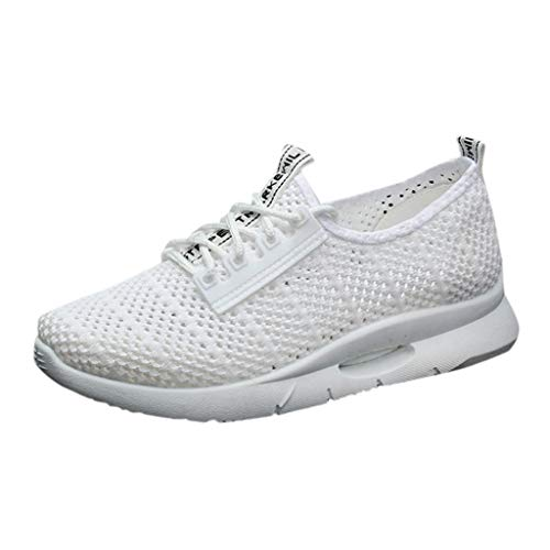 JURTEE Sneaker Damen, Ashion Mesh Atmungsaktive Turnschuhe Freizeitschuhe Student Laufschuhe Sportschuhe(39 EU,Weiß)